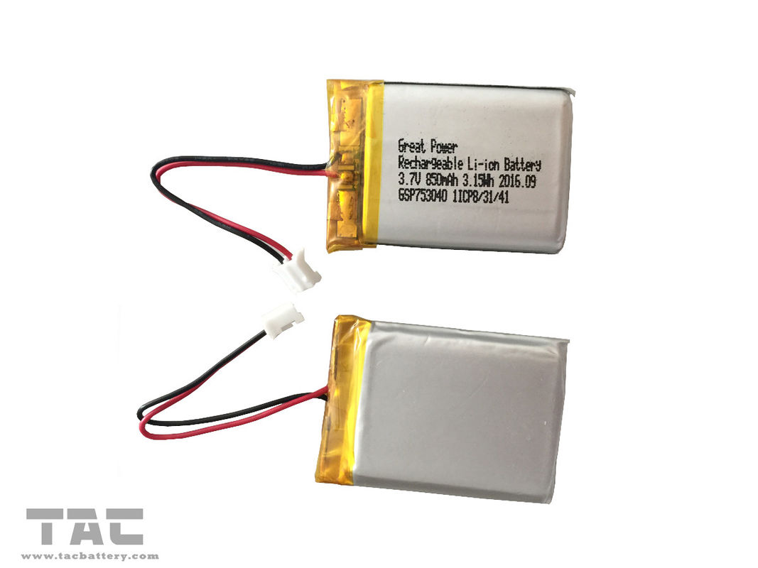 BIS 3.7V Li Polymer Battery GSP753040 Lithium Battery 850mAH For Vehicle Mounted Safety System
